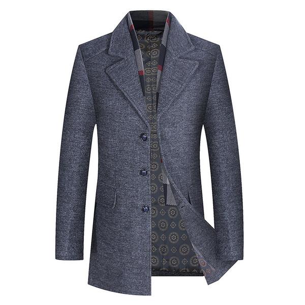 Зимнее пальто длинные мужчины теплая толстая куртка отложным воротником твердые однобортный карманы серый шарф воротник мужская коричневый тренч