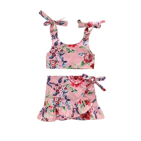 Neonato bambino bambini delle neonate dei vestiti di estate floreale senza maniche Bandage Vest Tops increspature pannello esterno del vestito Beachwear Outfit Abbigliamento