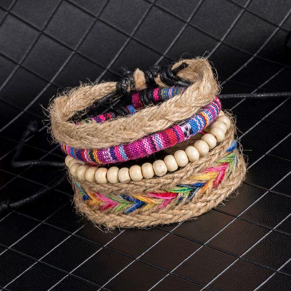 BXW 4 Teile / satz Bunte Perlen Mehrschichtige Handgemachte Seil Gewebt Armbänder Hippie Boho Stickerei Baumwolle Freundschaft Armbänder