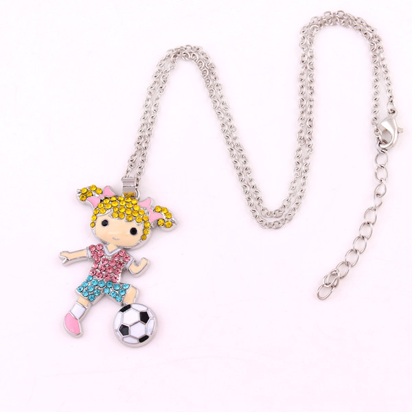 Huilin Wholesale jewerly colorful zinc alloy necknace with football girl pendant for gifts