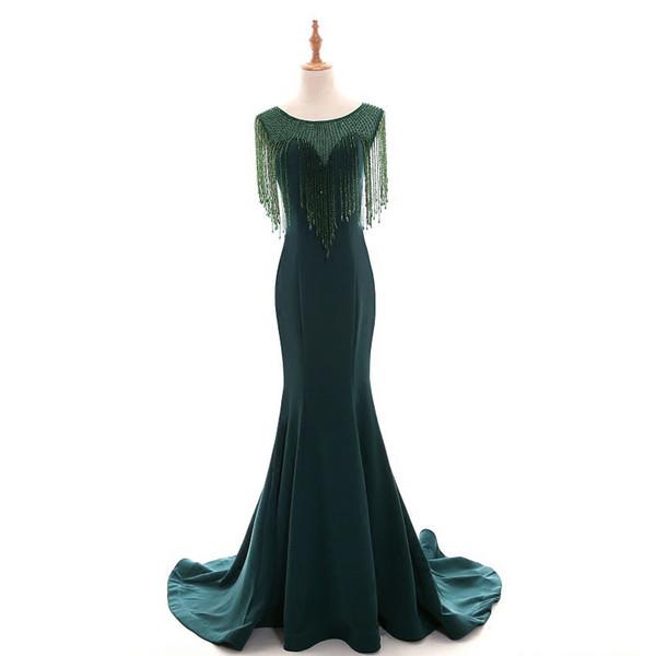 Abiye Emerald Green Mermaid Long Evening Dresses Beaded Crystal Vintage Evening Gowns Plus Size Middle East Abendkleider