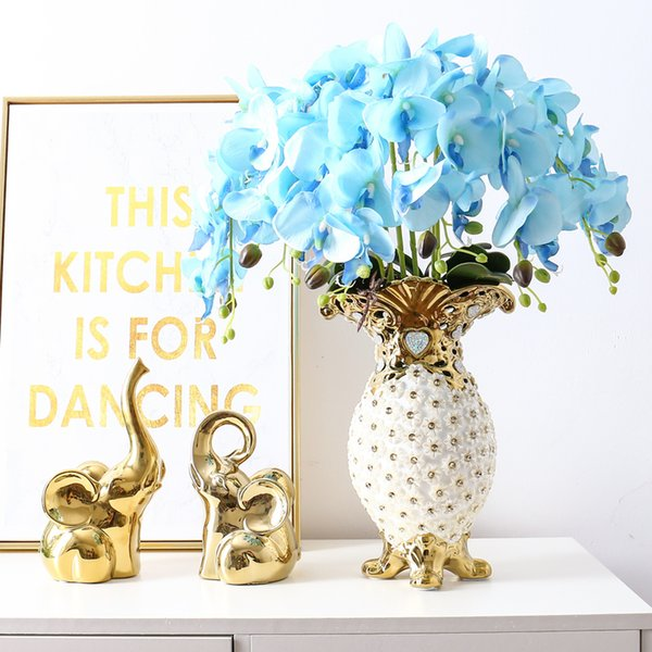 Home Decor Wedding Hotel Artificial Flowers Sets, Butterfly Orchid With Gilt CeramicsInlaid acrylic water drill Vase