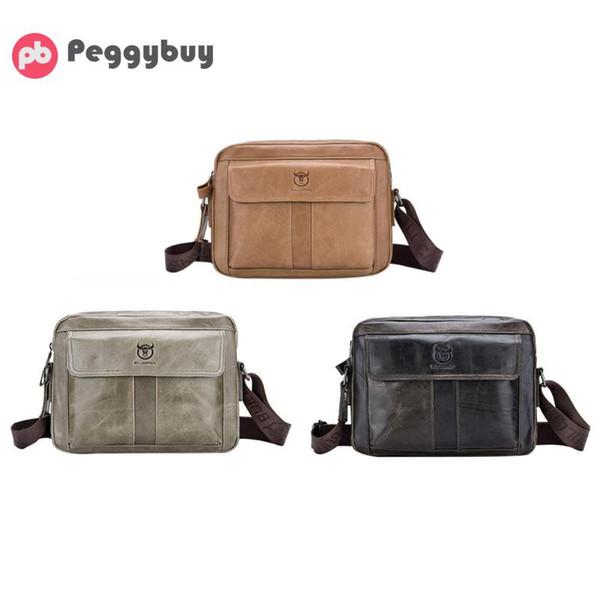 BULLCAPTAIN Genuine Leather Men Shoulder Handbag Casual Business Male Cowhide Crossbody Bags Large Capacity Travel Messenger Bag