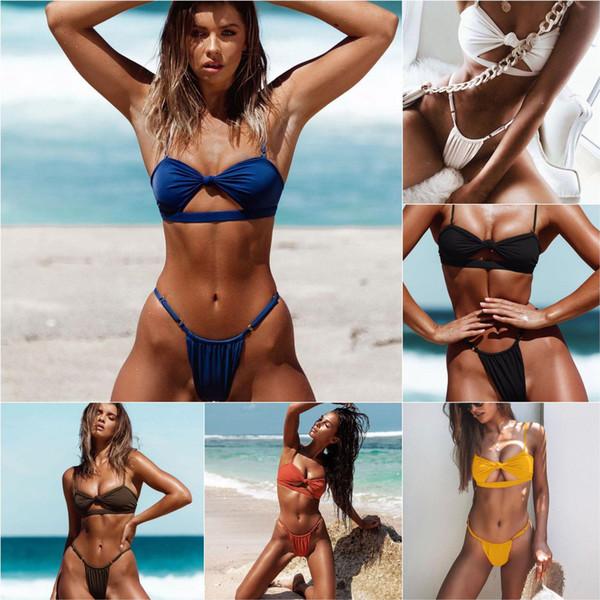 Chest Knot Bikini Hollow Out Swimsuit Women Sexy String Micro Bikini Set Brazil Swimwear Female Push Up Bathing Suit Bather J1906118