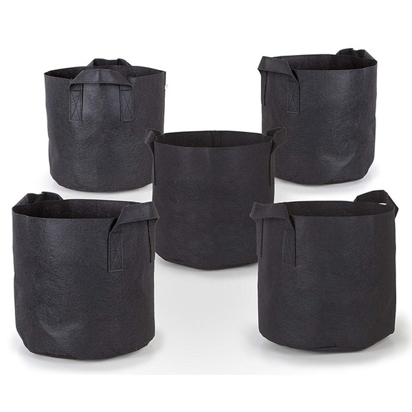Plant Grow Bags Thickened Non-Woven Aeration Fabric Pots Container with Strap Handles for Nursery Garden and Planting