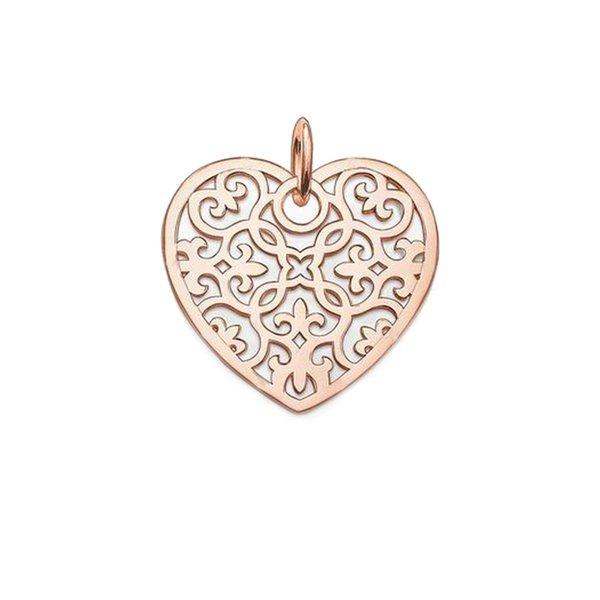 wholesale Heart Pendant Rose Gold Openwork Vine Arabesque Decoration 2018 Fashion Chain Necklace Pendant Jewelry Ms. Gift Bijoux