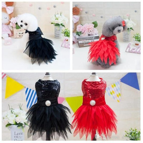 pet dog dresses costume red black puppy lovely sweet princess spring summer pet skirt clothes for small dogs Teddy Bichon XS/XL T18021