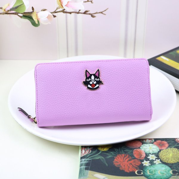 bright purple color sweet lovely Puppy pattern applique lady handbags wallet card package big capacity for travel convenient bags