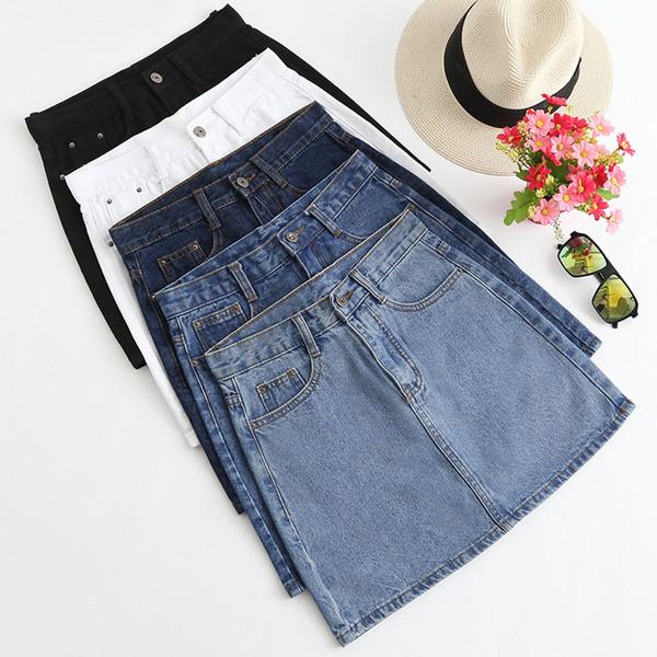 2019 5 Colors Available Summer New Arrival Fashion Denim Clothing Women Korean Style High Waist Denim Skirt Free Shipping