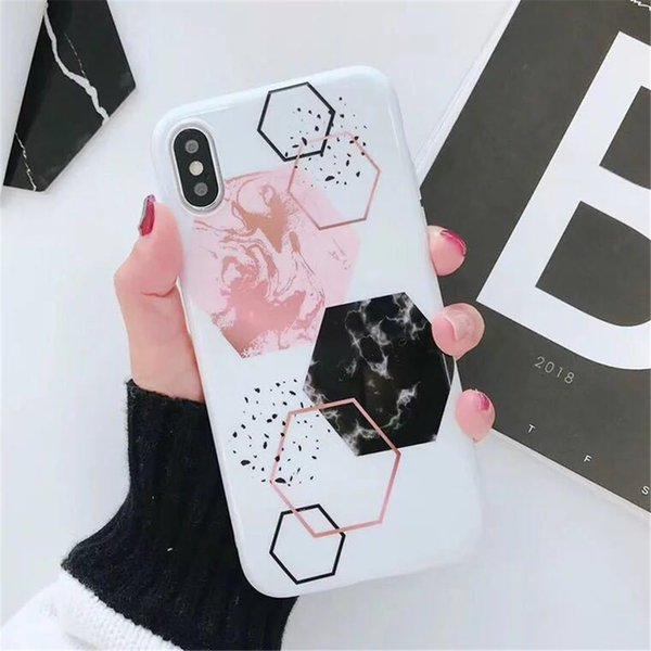 Fashionistas Love Popular Marble Geometric Splicing Drop Scratch-resistant Case Soft Case for Female for iphone 6 7 8PLUS XS