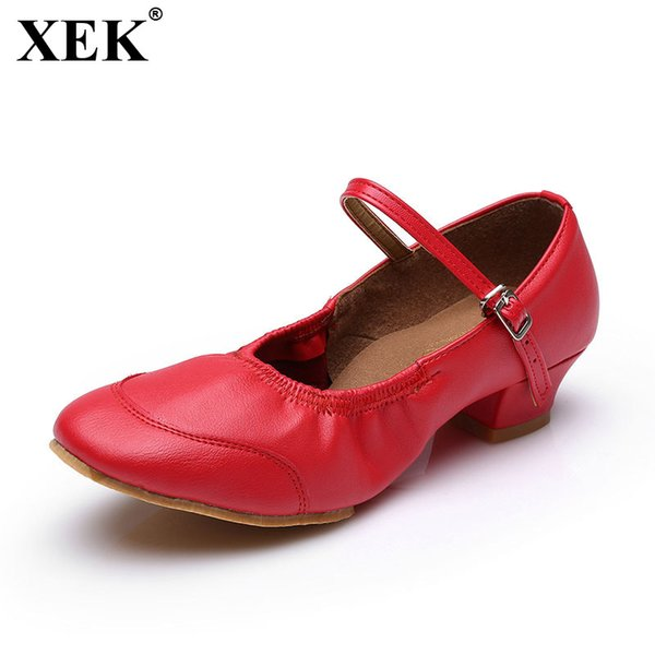Designer Dress Shoes XEK 2019 Fashion Brand Women Girls Ballroom Latin Tango Women Low Heeled Modern Casual Size 34-41 JH177