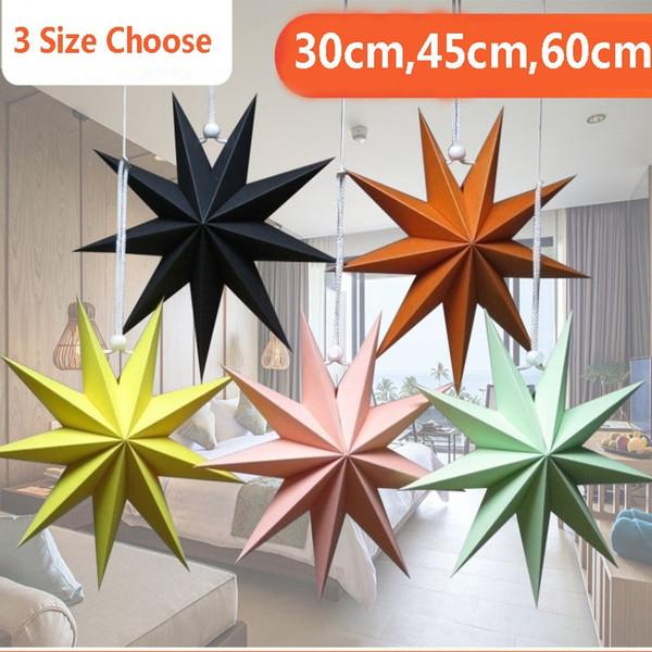 Nuevos nueve ángulos Estrella de papel Decoración del hogar Estrellas colgantes Linterna para fiesta de Navidad Centro comercial Decoración de cumpleaños 30 cm, 45 cm, 60 cm AN2287