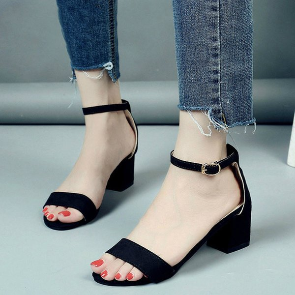 Summer Women Shoes Ankle Strap Gladiator Buckle Strap Cover Heels Fashion Chunky Ladies Sandals For Female Footwear 2019