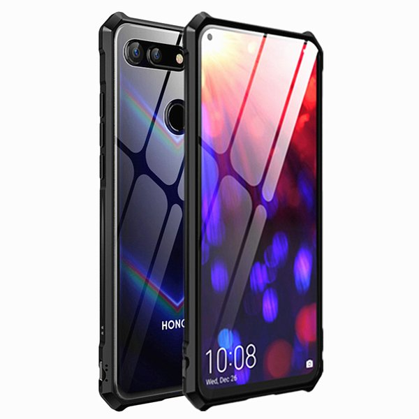 Luxury Flip Shockproof Case Huawei Honor V20 Case View 20 Cover Alloy Metal Frame Bumper and Transparent Tempered Glass Back Cover