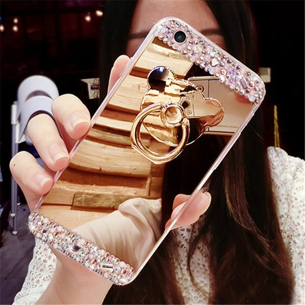 Fancy Diamond bear crystal stone finger ring stand mirror phone case cover For MOTO G4 G5 G6 plus PLAY
