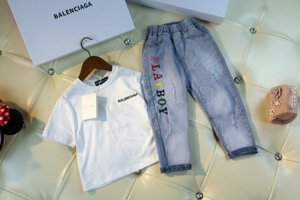 Summer new set high quality mercerized cotton suit with washable jeans embroidery logo very high-grade upper body comfortable