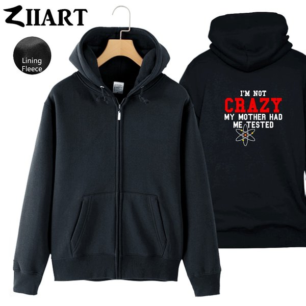 TBBT Quotes I M Not Crazy My Mother Had Me Tested Atom Man Boys Full Zip Autumn Winter Fleece Hooded Coat Jackets ZIIART Faux Leather Jacket Fur