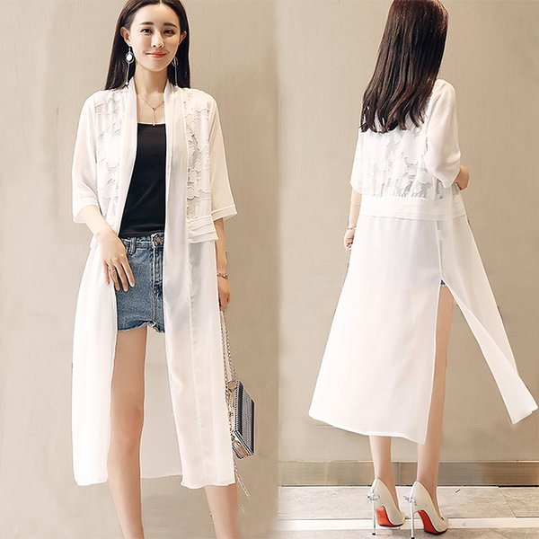 2019 été en mousseline de soie dentelle patchwork blouse femmes moitié coquille tops beaucoup plus la taille en mousseline de soie noire kimono à tricoter veste boho chemise y19071201