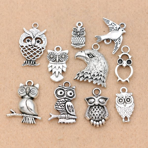 ashion Jewelry Charms Mix Tibetan Silver Plated Birds Owl Eagle Charm Pendants for Bracelet Necklace Accessories Jewelry Diy Findings Han...