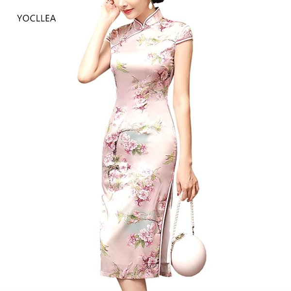 New Chinese Dress female Qipao Midi style Cheongsams Women Traditional silk like Party dresses Vestidos S M L XL XXL XXXL G8236