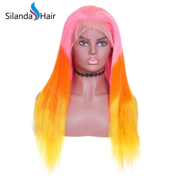 Silanda Hair 3 Tone Dyed Ombre Color Pink Orange Yellow Straight Brazilian Remy Human Hair Lace Front Full Lace Wigs Free Shipping