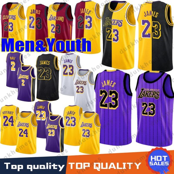 more photos ab41f 61ac2 2018 23 LeBron James 2019 New Jersey Los Angeles Lakers 2 Lonzo Ball 0 Kyle  Kuzma 24 Kobe Bryant 14 Brandon Ingram Jerseys Men Youth Black From ...