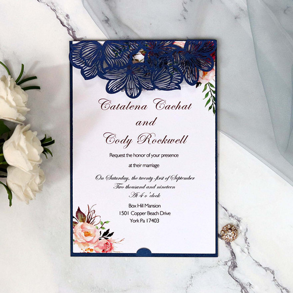 New Blue Red White Hollow Wedding Invitation Cards Elegant Flower Simple Invitations Pockets Invitations Cards Wholesale Communion Invitations