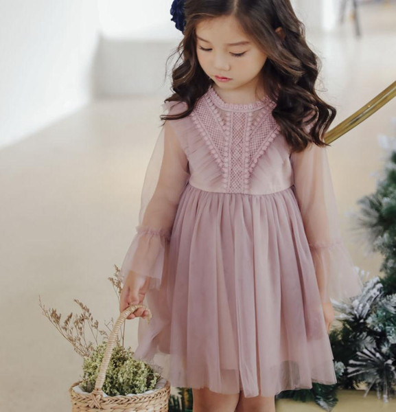 Spring children lace gauze party dress kids falbala perspective sleeve tulle tutu dresses flower girl dresses for wedding pink white A01581