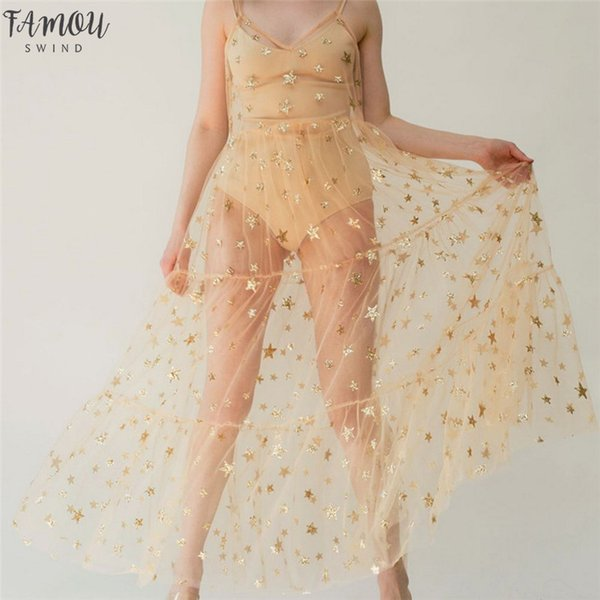 new fashion womens ladies beach style mesh seethrough long dresses cover up sundress summer a-line solid ankle-length star