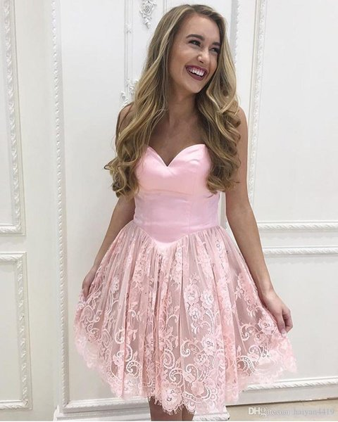 Lovely Short A Line Pink Homecoming Dresses Sweetheart Lace Applique For Junior Cocktail Dresses Knee Length Zipper Party Prom Gowns