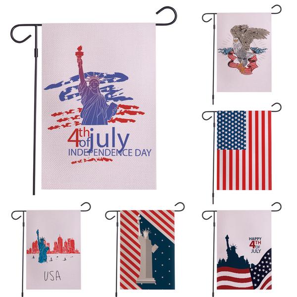 Quarto di luglio Garden Flag American Independence Day Memorial USA House Yard Bandiera Banner Party al di fuori del giardino Decor TTA984