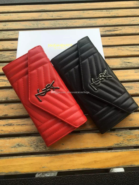2019 new fa hion de igner women clutch genuine female leather men long pur e flip cover long wallet with box, Red;black