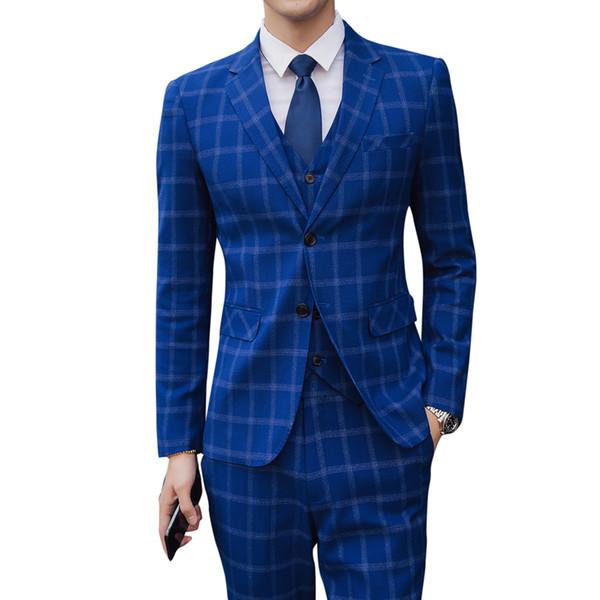 Mens Fashion Boutique Plaid Wedding Dress Suit Three-piece set men Formal Business Casual mens Suits Blazers pant vest