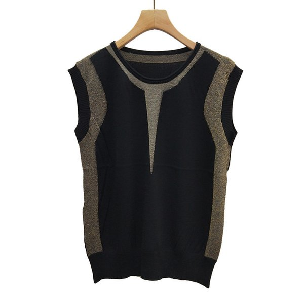 ClearanceSummer Wear Female 2019 T-shirts Gold Thread Thin Ice Silk Knitting Vest