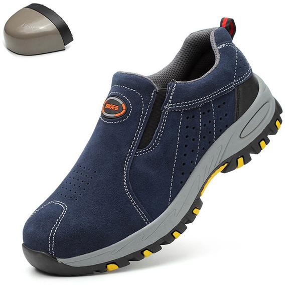 Plus Size Herren atmungsaktiv Outdoor-Kuh-Veloursleder mit Stahlkappe Arbeitsstiefel Schuhe Herren Anti-Rutsch-pannensichere Sicherheitsschuhe