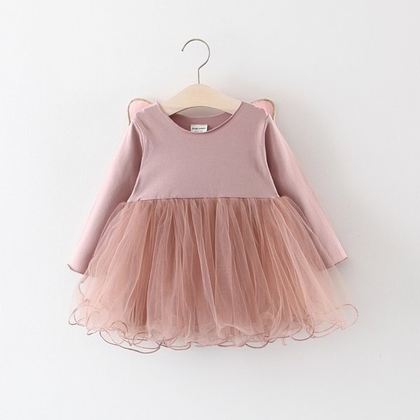 good quality 2019 spring sutumn fashion girls dress cotton solid casual wedding birthday vestidos clothing for kids 0-4T