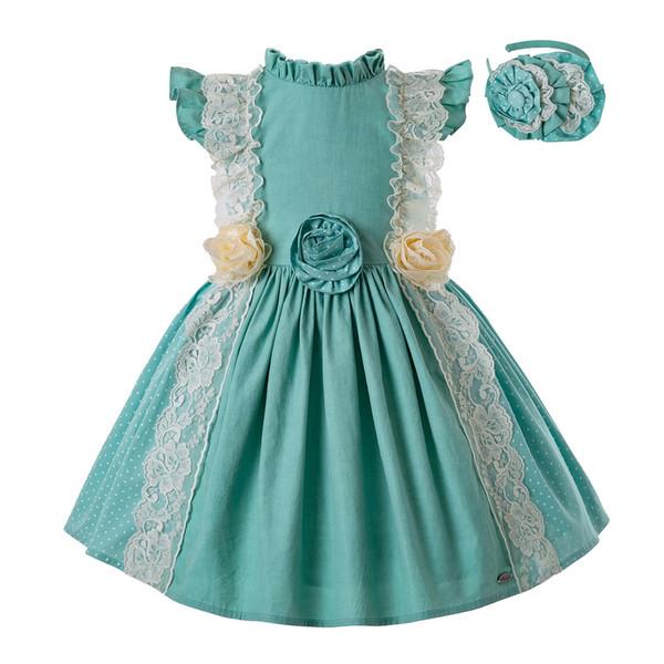 Pettigirl Summer Mint Green Princess Dress Flower Girl Dress Children Clothing With Headwear Baby Clothes G-DMGD201-C139