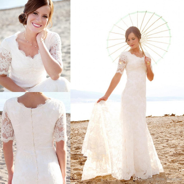 New Modest Short Sleeves Wedding Dresses with Pearls For Beach Garden Hot Sale Cheap Lace Mermaid Wedding Bridal Gowns Custom Made
