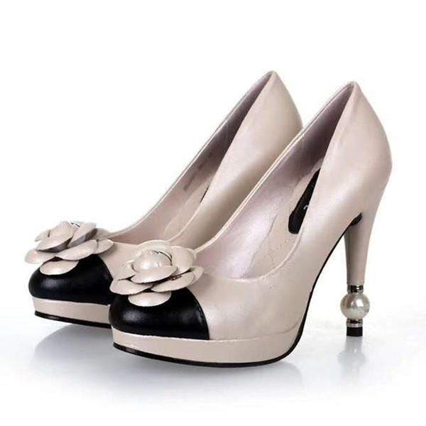 New Fashion Vera Pelle Ufficio Lady Scarpe Ragazze Strass Fiori Perla Punta Rotonda Beige Pompe Donna Tacchi alti Ladies Dress Shoes