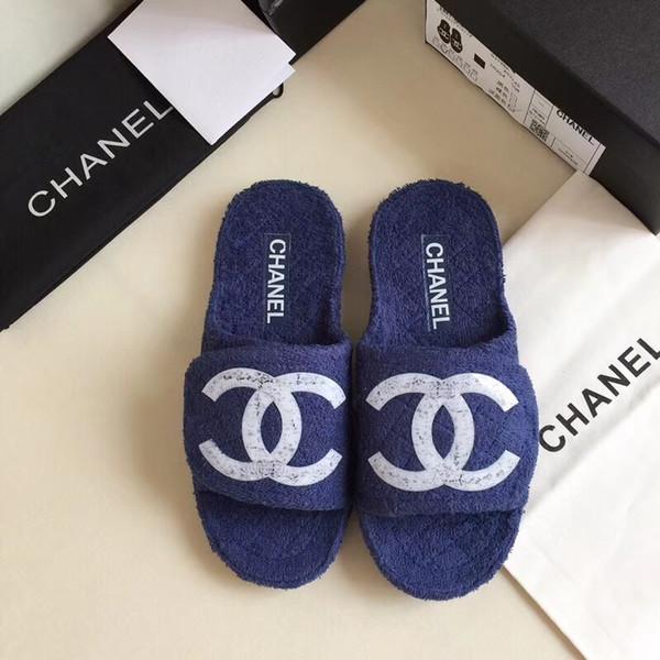 Hot SALE Designer Womens Luxury C Slippers Blue Black Fur Leather Summer Sandals Female Brand Slipper Fashion Casual Flip Flops With Box