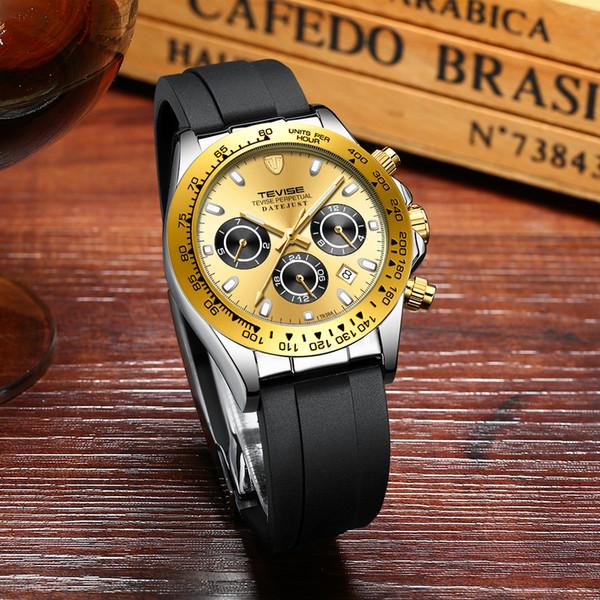 TEVISE T838A Reloj Mecánico Automático Hombres de Negocios Mes Semana Calendario Moda Casual Luminoso Impermeable Reloj Masculino