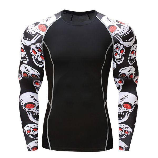 017men compression shirts mma rashguard keep fit fitness long sleeves base layer skin tight weight lifting elastic mens t shirts thumbnail