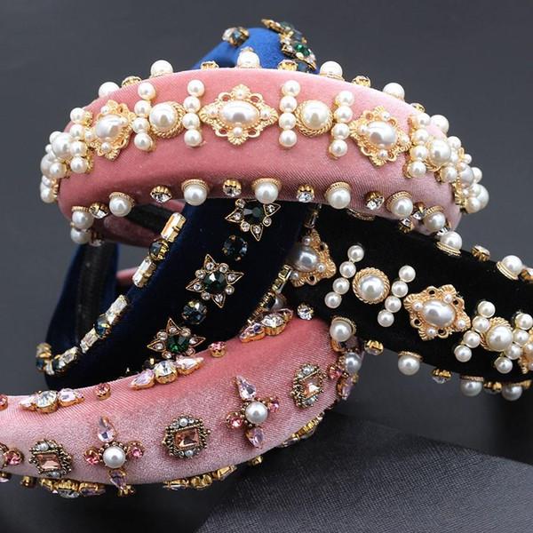 Esagerato Personalità lusso fascia Barocco Esagerato selvaggio temperamento fascia Hairbands perla del Rhinestone