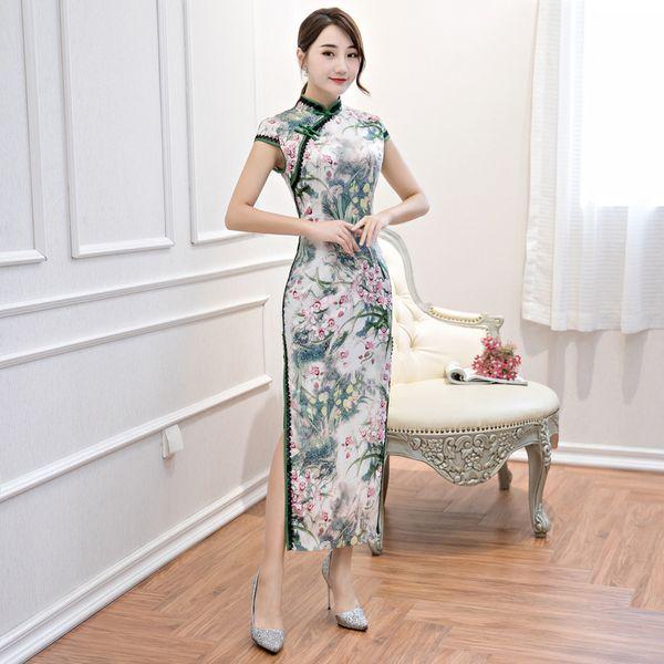Novas Mulheres Rayon Sexy Vintage Manga Curta Cheongsam Novidade Estilo Chinês Mandarim Gola Vestido de Impressão Das Senhoras Qipao M-3XL