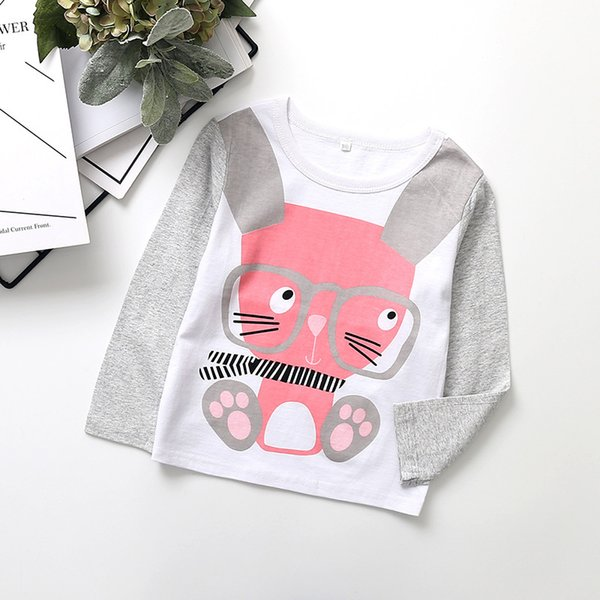 19 Spring Models Cotton Girls Print Long-sleeved T-shirt Bottoming Shirt European And American Childrens Clothing Cross-border New Products