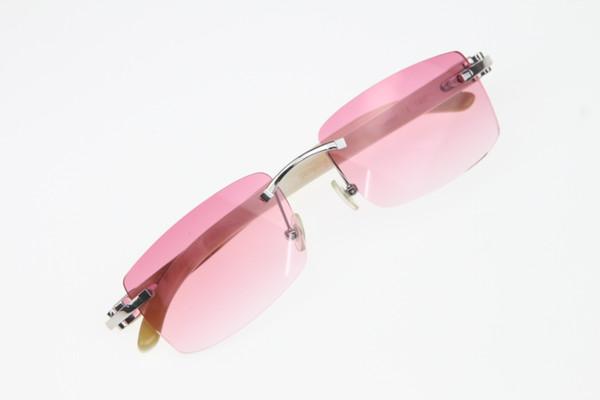Kostenloser Versand Randlose Brille Neue Weiße Echte Natürliche Horn Sonnenbrillen Hot 3524012 Randlose Sonnenbrillen Hot Unisex Designer Sonnenbrille Rosa