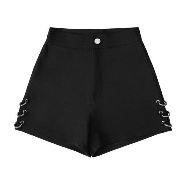 Summer Black Split For Women Loose Rings Decoration Fashion Shorts Female J190629