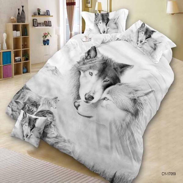 Lujo Inteligente juego de cama 3d ropa de cama 4 unids juego de cama Funda nórdica hoja plana Textiles para el hogar funda de almohada Tamaño Queen Tree wolf bosque