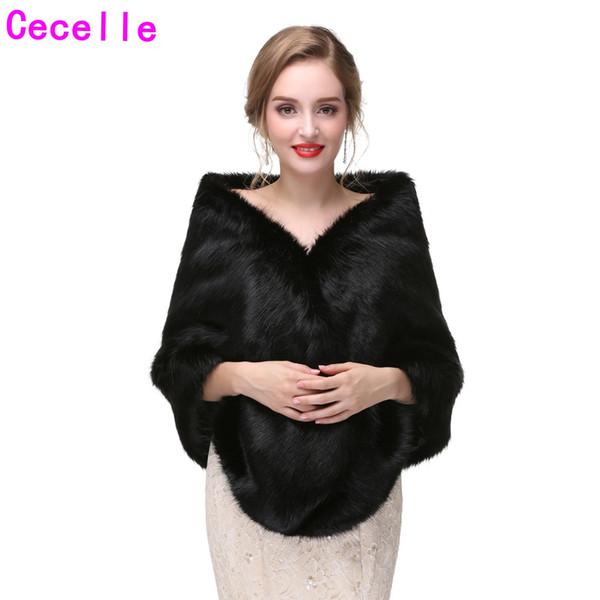 New Black Bridal Winter Faux Fur Wraps Bridesmaid Women Faux Fur Capes For Wedding Party Adult Winter Fur Wrap High Quality