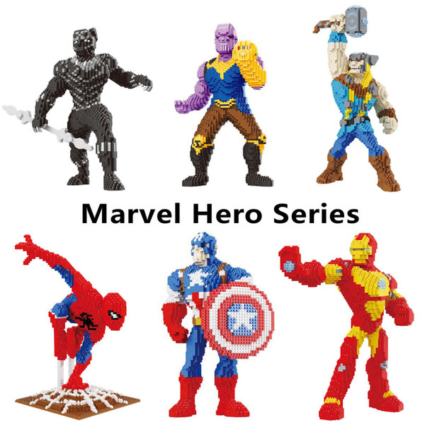 Superhero Series Iron Man Marvel Assemblage Toys Small Particles Diamond Bricks Building Blocks Adult Puzzle Game Characters Avengers Toy
